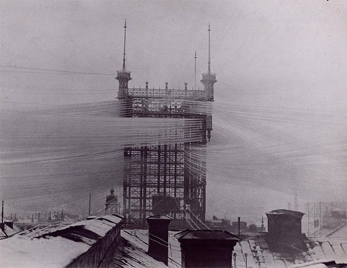 Tháp điện thoại Telefontornet ở Stockholm, Thụy Điển, năm 1890.