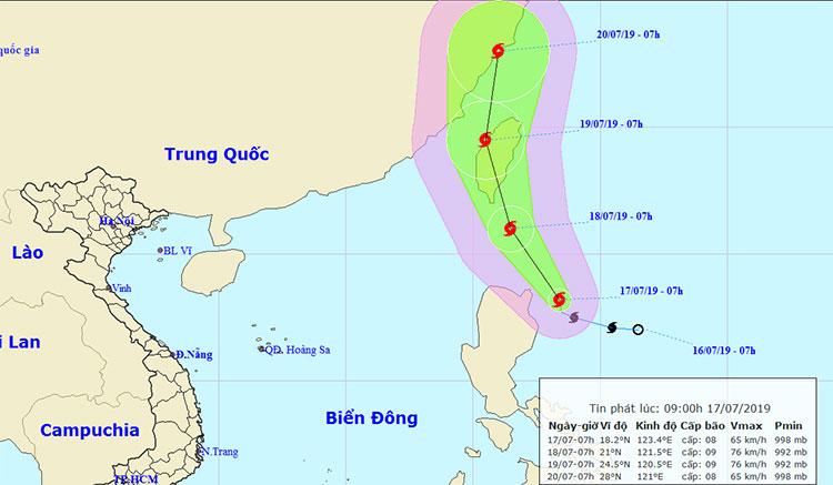 Vị trí và hướng di chuyển của bão Danas.