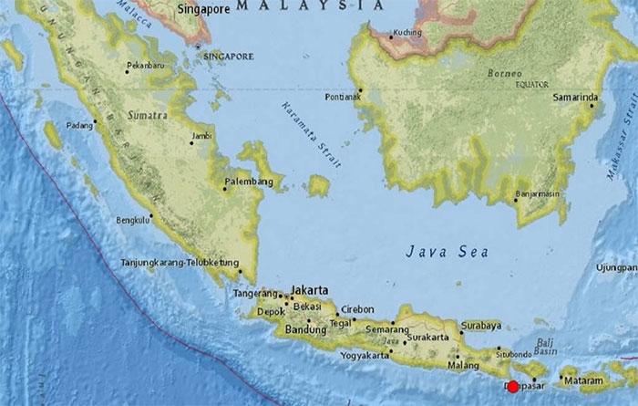 Vị trí của cơn động đất 6,1 độ richter diễn ra tại Indonesia hôm nay.