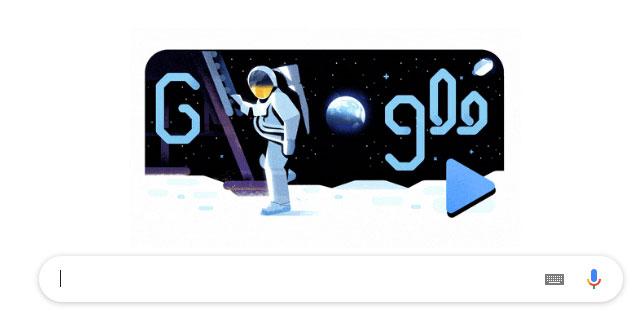 Doodle Google hiển thị hình ảnh phi hành gia bước lên tàu vũ trụ để đi khám phá mặt trăng.