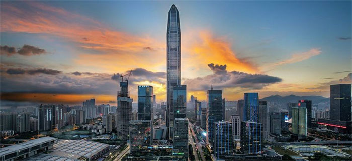 Tòa nhà đặt trung tâm Tài chính Quốc tế Bình An ở Thâm Quyến, Trung Quốc.