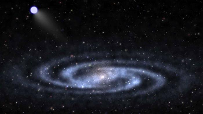 Ngôi sao S5-HVS1 bay cực nhanh ra xa khỏi trung tâm dải Ngân hà. (Ảnh: arXiv).