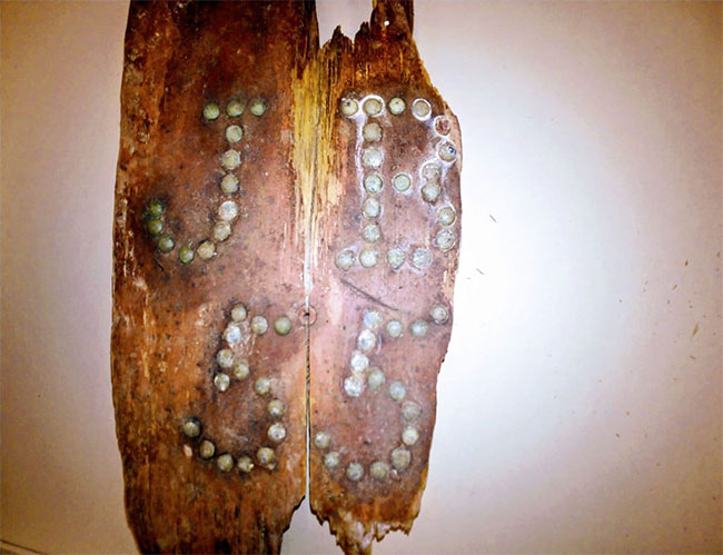 """Một mảnh vỡ từ nắp quan tài của John Barber có khắc ký hiệu viết tắt tên và tuổi của ông """"JB 55""""."""
