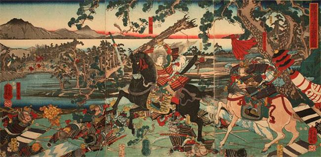 Một mô tả về Tomoe trong Trận chiến Awemo.