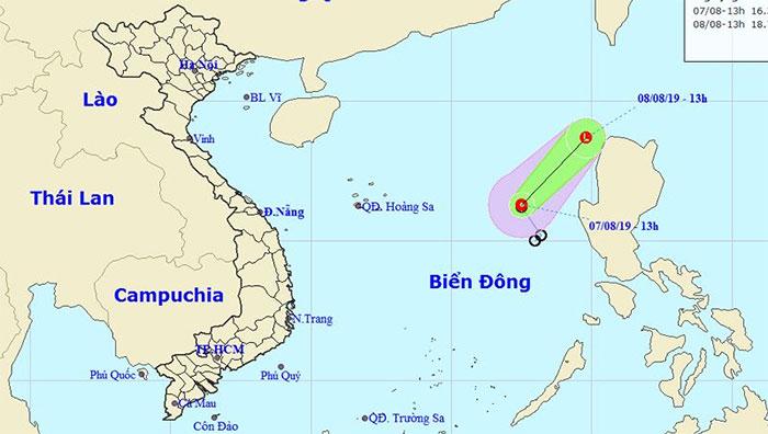 Vị trí của áp thấp nhiệt đới.