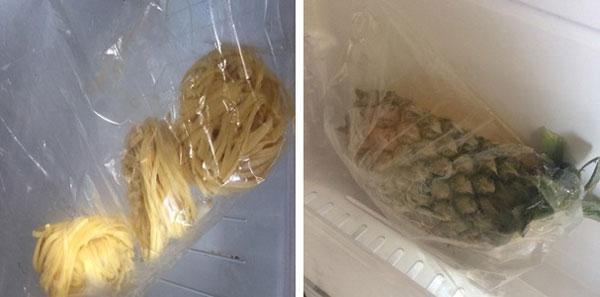 Túi đựng và bao gói thực phẩm bảo quản trong tủ lạnh.