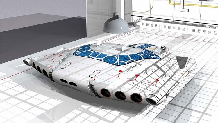"""Mẫu thiết kế HSP """"Solar Skin"""" là máy bay chạy bằng năng lượng mặt trời, rất yên tĩnh."""