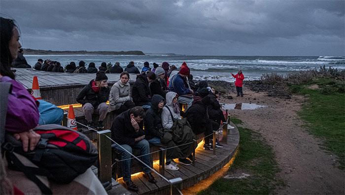 Trong ảnh, du khách chờ đợi thời điểm chim cánh cụt trở về sau một ngày kiếm ăn.