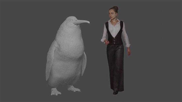 Hình ảnh mô phỏng loài chim cánh cụt khổng lồ, có chiều cao ngang với con người.