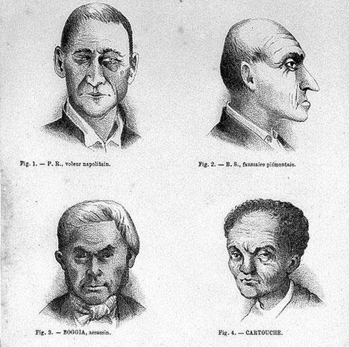 Sau nhiều cuộc khảo sát, ông Lombroso tìm ra một số đặc điểm nhận dạng thường thấy ở tội phạm.