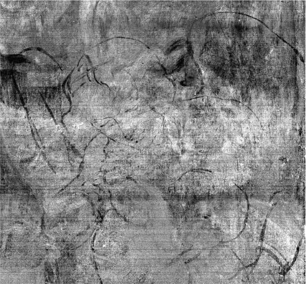 Bản phác họa được soi và hiện lên trên bản đồ huỳnh quang tia X