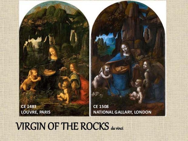 """""""Virgin of the rocks"""" bản gốc 1483 (trái) và bản sao lại 1508 (trái)"""