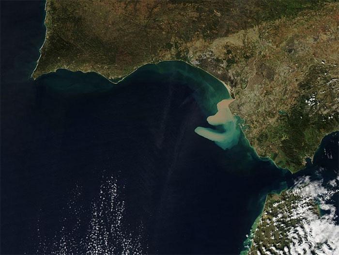 Trầm tích dọc bờ biển Vịnh Cádiz, Tây Ban Nha.
