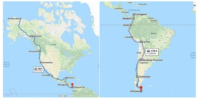 Cao tốc Pan-American được Guinness công nhận là con đường dài nhất thế giới với chiều dài 48.000 km.