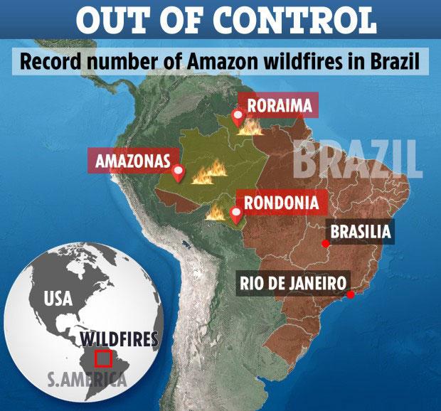 Biểu tượng minh họa đốm lửa cho thấy những nơi cháy rừng ngoài tầm kiểm soát: Roraima, Amazonas, Rondonia.