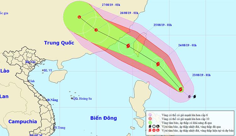 Vị trí và hướng di chuyển của bão Bailu.