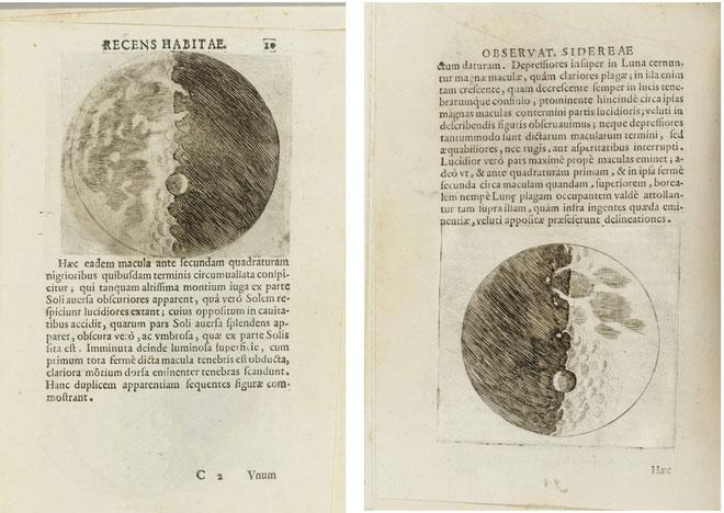 Vài trang sách trong quyển Sidereus Nuncius của Galileo bằng tiếng Latin.
