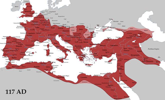 Năm 117 sau Công nguyên, thời điểm La Mã đạt tới đỉnh cao của mình, cùng với đó là sự phổ biến của tiếng Latin.