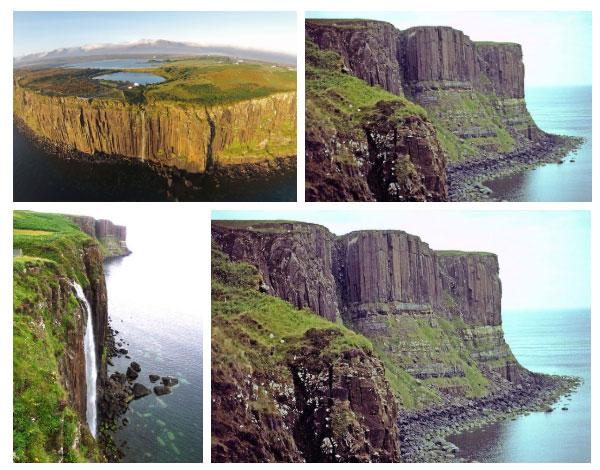 Từ trên đỉnh vách, một dòng thác trắng đổ xuống, tạo nên khung cảnh kỳ vĩ, đẹp huy hoàng.