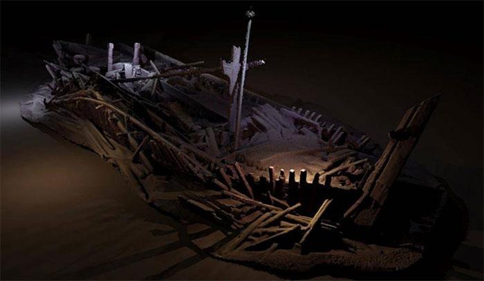 Xác tàu buôn thời đế chế Otto dưới đáy biển Chết.