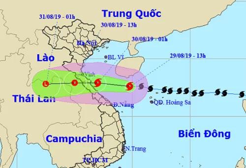 Dự báo đường đi và khu vực ảnh hưởng của bão của đài khí tượng Việt Nam.
