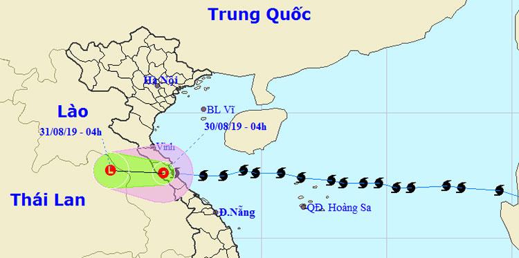 Bão suy yếu thành áp thấp nhiệt đới sau khi đổ bộ vào các tỉnh Hà Tĩnh, Quảng Bình.