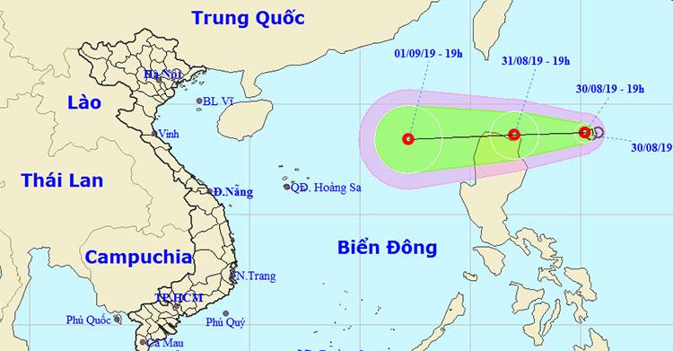 Hướng di chuyển của áp thấp nhiệt đới.