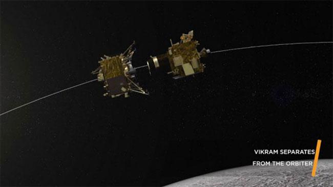 Trạm đổ bộ Vikram tách khỏi tàu vũ trụ Chandrayaan-2 hôm 2/9.