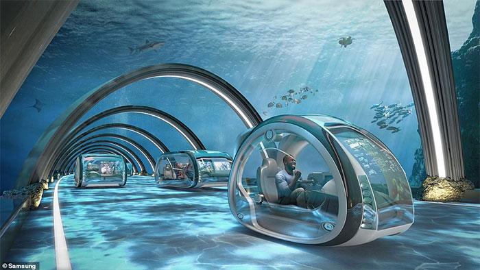 Con người đi lại trong đường ống dưới nước.
