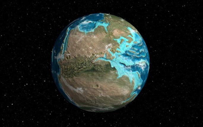 Hình ảnh Trái đất 240 triệu năm trước với siêu lục địa Pangea ngự trị