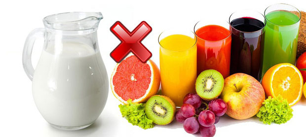 Sữa bò và nước hoa quả