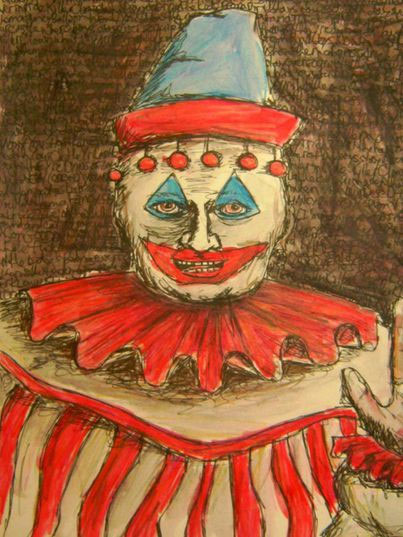 Một trong nhiều bức vẽ về chú hề mà tay sát nhân John Wayne Gacy để lại.