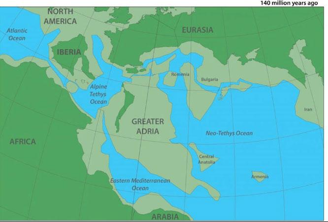 Bản đồ mô tả lục địa cổ đại Greater Adria.