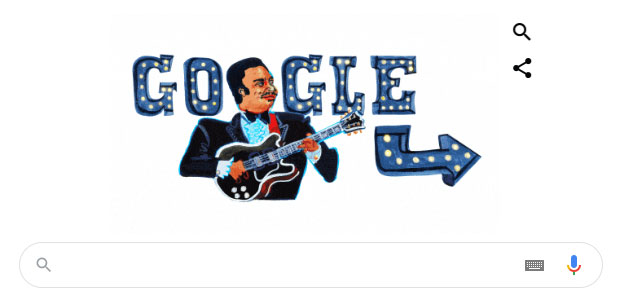 Google thay đổi Doodle mừng ngày sinh của BB King.