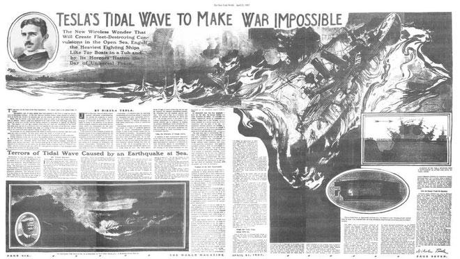 """Một bài báo nói về vũ khí """"ngăn chặn chiến tranh"""" của Tesla."""
