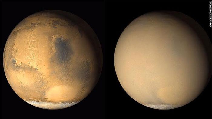 Tấm ảnh chụp năm 2001 của NASA cho thấy rõ sự thay đổi của hành tinh bao bọc bởi lớp bụi gây ra do bão cát.