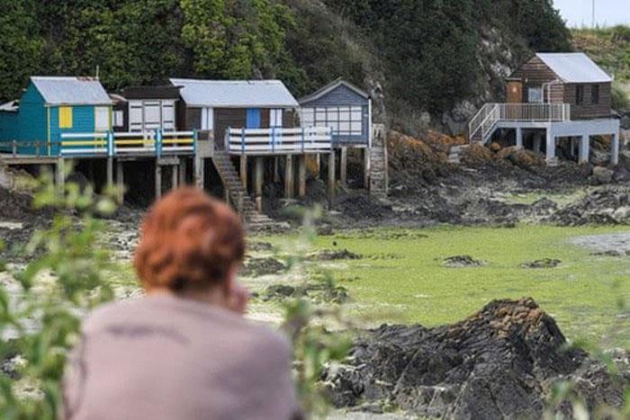 Một người phụ nữ nhìn ra các dãy nhà bị tuyên bố không tiếp cận vì tảo độc tại bãi biển Valais, thuộc Saint-Brieuc