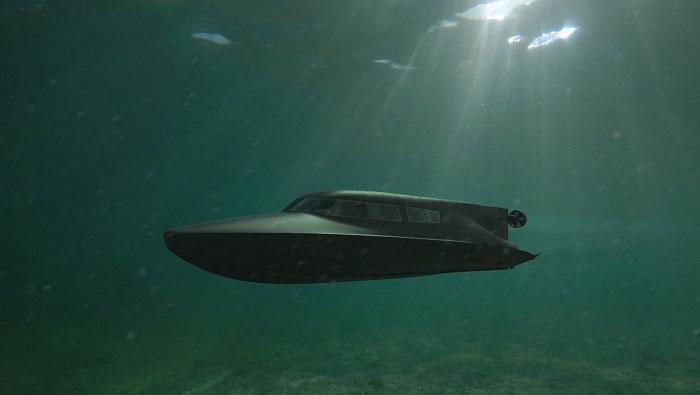 Tàu Victa có thể vừa di chuyển trên mặt nước, vừa lặn như tàu ngầm.