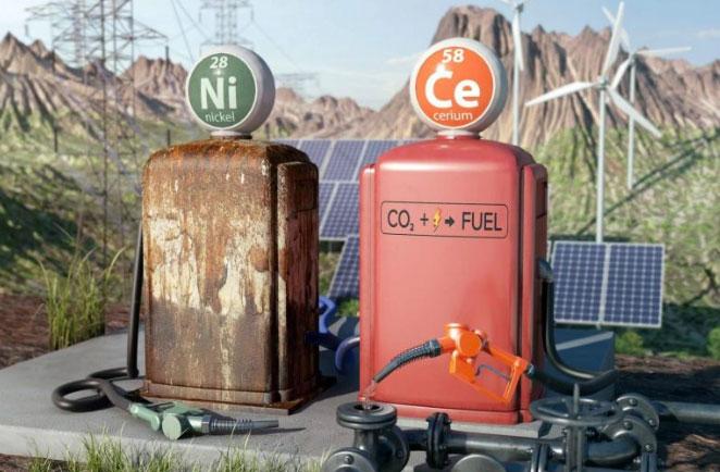 Minh họa thể hiện điện cực niken giống như một máy bơm nhiên liệu cũ bị hỏng