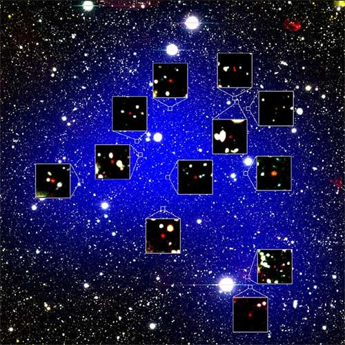 Ảnh chụp 12 thành viên trong cụm thiên hà Protocluster.