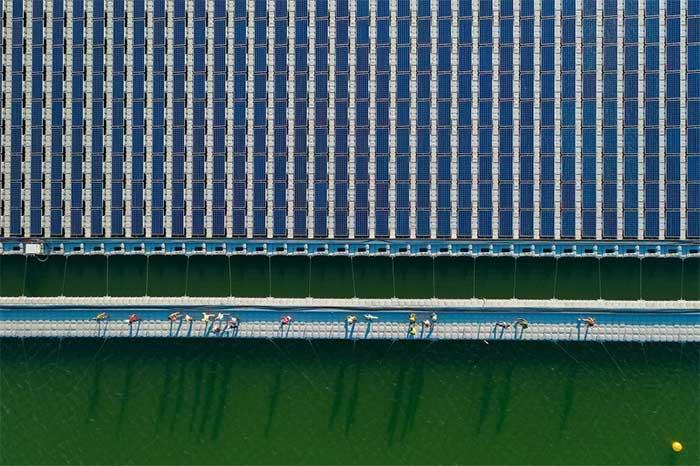 Công nhân đang bước đi ra về sau một ngày làm việc tại một cánh đồng năng lượng mặt trời