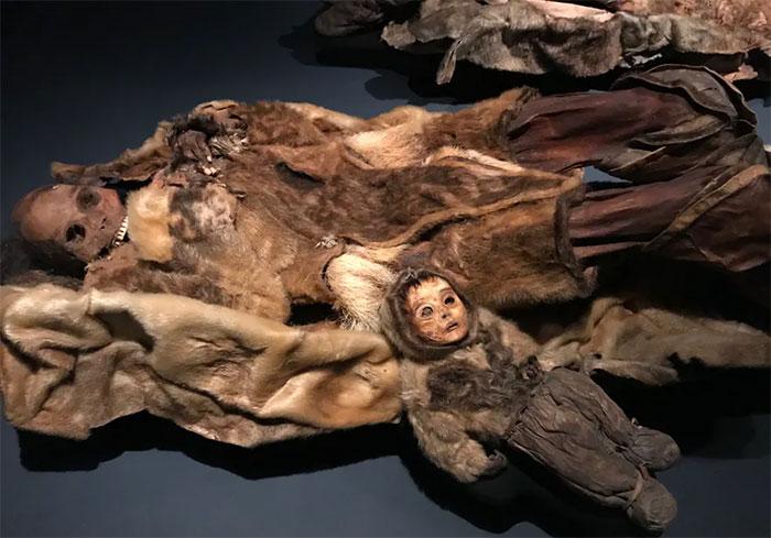 Hai trong số các xác ướp 500 năm tuổi được trưng bày tại bảo tàng ở Greenland.