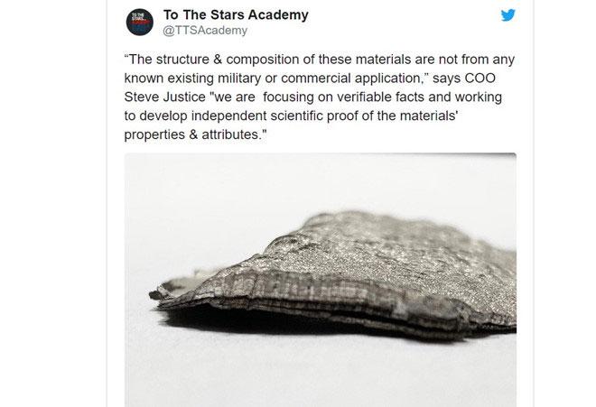 Nhóm nguyên cứu của Tom DeLonge cho rằng đây là vật liệu của UFO.