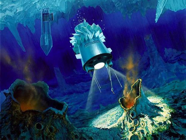 Ảnh minh họa về các ống thủy nhiệt của Enceladus.