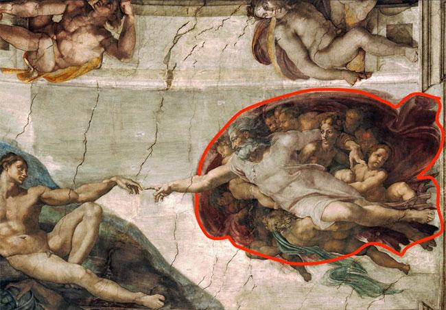 """Bức tranh """"Creation of Adam"""" trên trần nhà nguyện Sistine"""