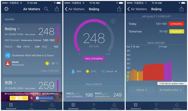 Air Matters có cách sử dụng giống với AirVisual.