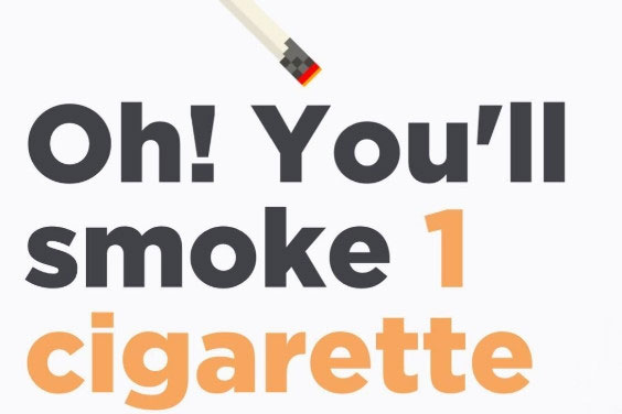 Ứng dụng này quy chỉ số ô nhiễm không khí thành lượng thuốc lá hút trong một ngày của mỗi người.