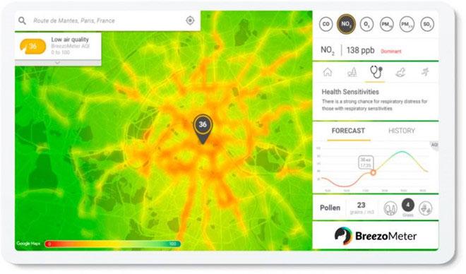 Ứng dụng này hiển thị mức độ ô nhiễm không khí theo từng vùng màu.
