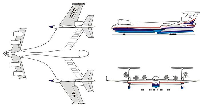 Ý tưởng siêu vận tải cơ lưỡng cư với trọng lượng cất cánh tối đa 1.000 tấn của Nga.