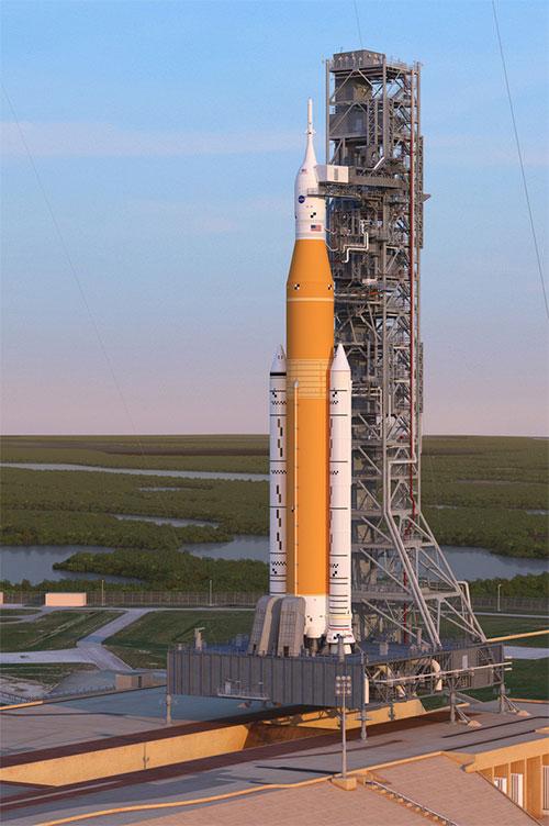 Họa sĩ vẽ phác thảo SLS của NASA.